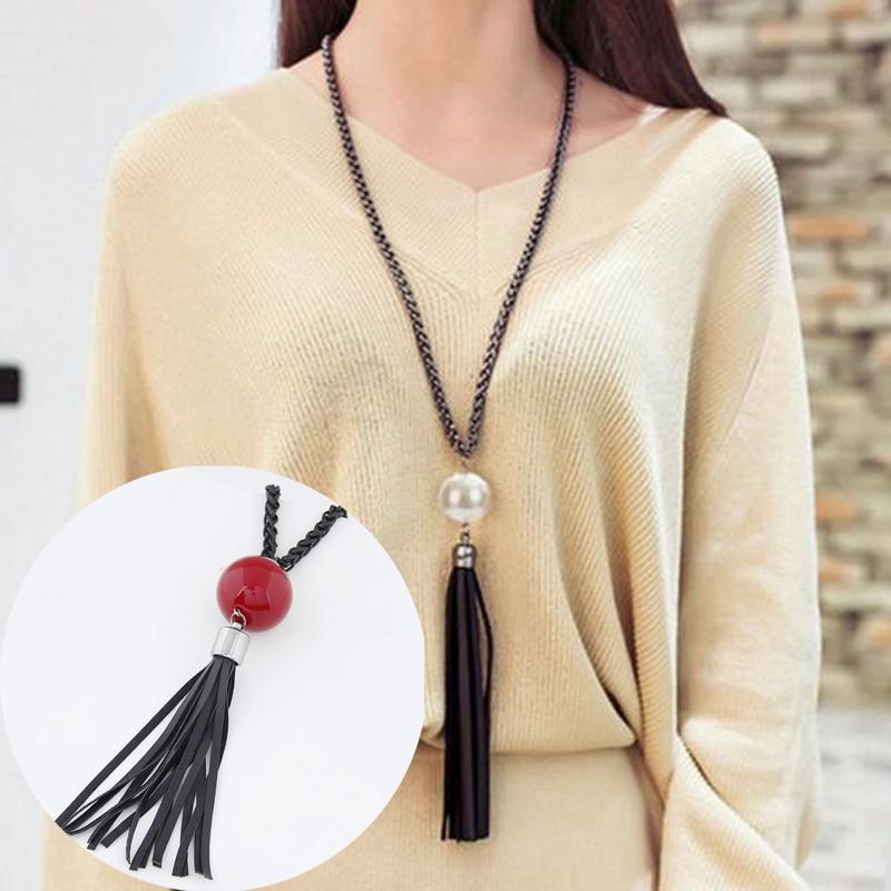 LNRRABC Nowy łańcuch wisiorek z frędzlami Długi sweter Łańcuch Białe czerwone koraliki Łańcuchy Naszyjnik Moda Biżuteria Kobiety prezent
