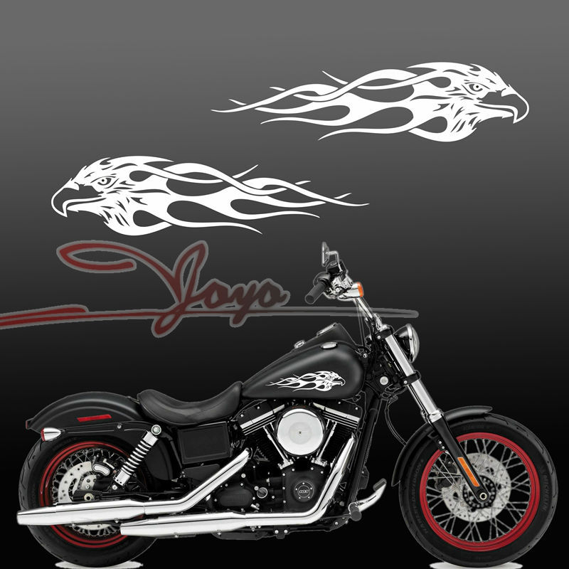 MOTO motorcycle decals Motorcycle Flame Eagle Gas Tank Decal Harley Sporter Dyna Touring Softiail 13x3.25 universal