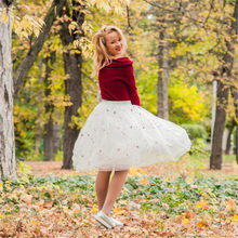 bd3a6dca1df 2018 New Puff Women Mesh Embroidery Tulle Skirts Vintage Floral Mesh High  Waist Black White Tutu Skirt Womens
