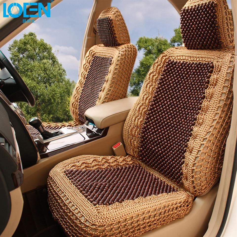 LOEN Almofada Do Assento de Carro de Luxo Mão-tecido de Seda Gelo com Contas De Madeira Tampa de Assento Do Carro Verão 5 Traseira Frente assento de Carro Universal