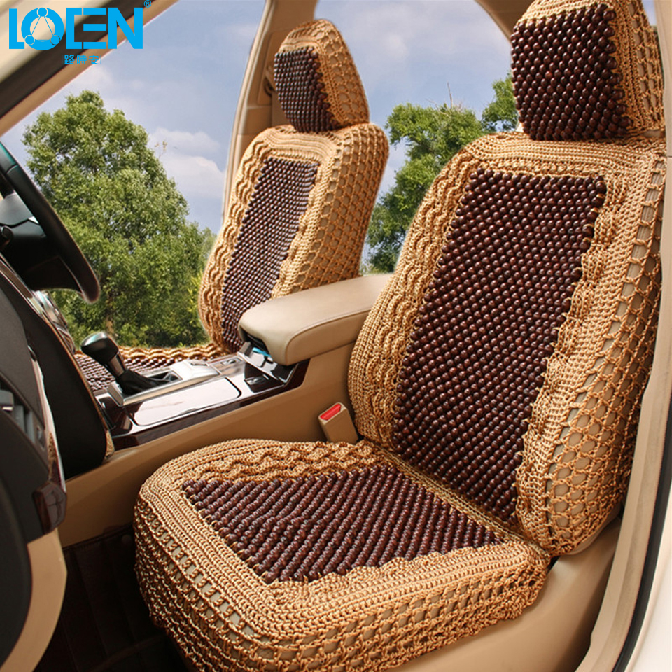 LOEN Luxury Car Seat Cushion Hand Woven Ice Silk With Wood Beads Cover Summer Front Rear 5 For Universal In Automobiles Covers From