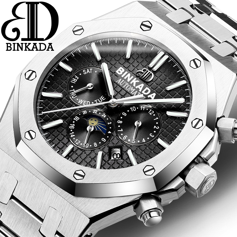 2018 Hot Luxury Brand BINKADA Men Watch Classic Stainless Steel Automatic Self Wind Mechanical Watches relogio masculino Relojes tevise men automatic self wind gola stainless steel watches luxury 12 symbolic animals dial mechanical date wristwatches9055g