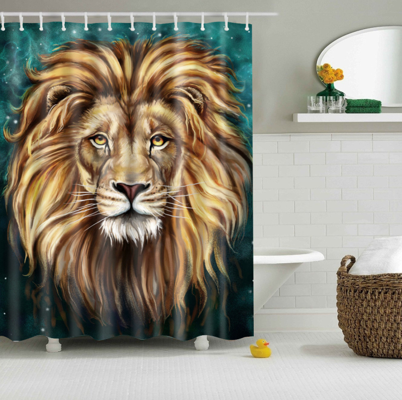 Papa&Mima Wild Lion Animals Waterproof Shower Curtains Polyester Bathroom Curtains With Hooks 150x180/180x180cm Decorative
