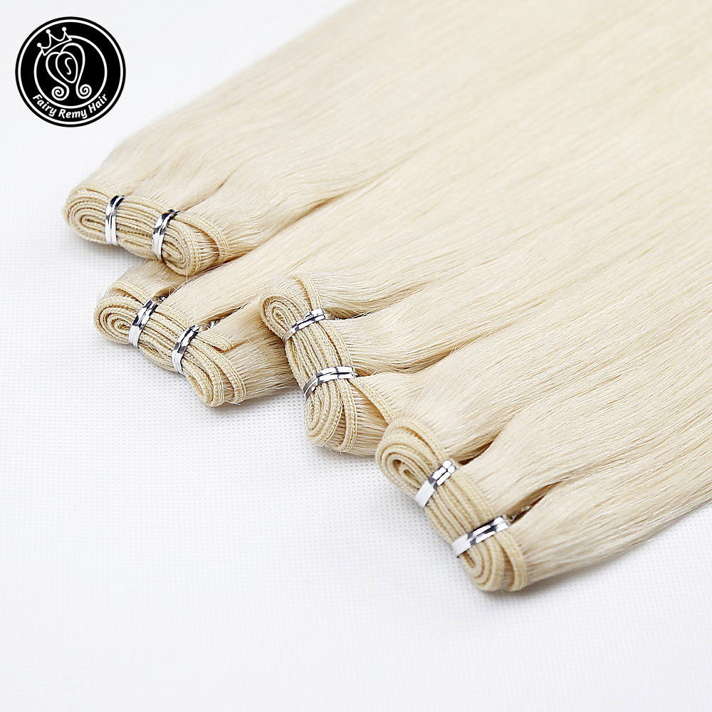 Human Hair Weave Real Remy Double Drawn Straight Bundle Weft Hair Extensions Platinum Blonde 14