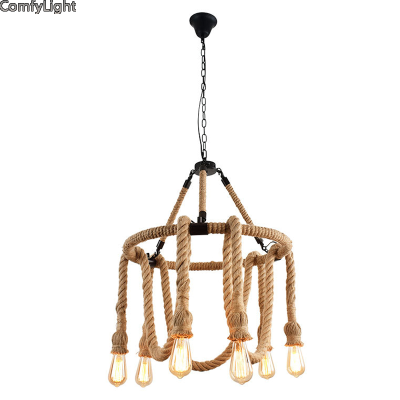 Retro Vintage Rope multi head Pendant Light Lamp Loft Creative Personality Industrial Lamp Edison/led American Living Room/foyer