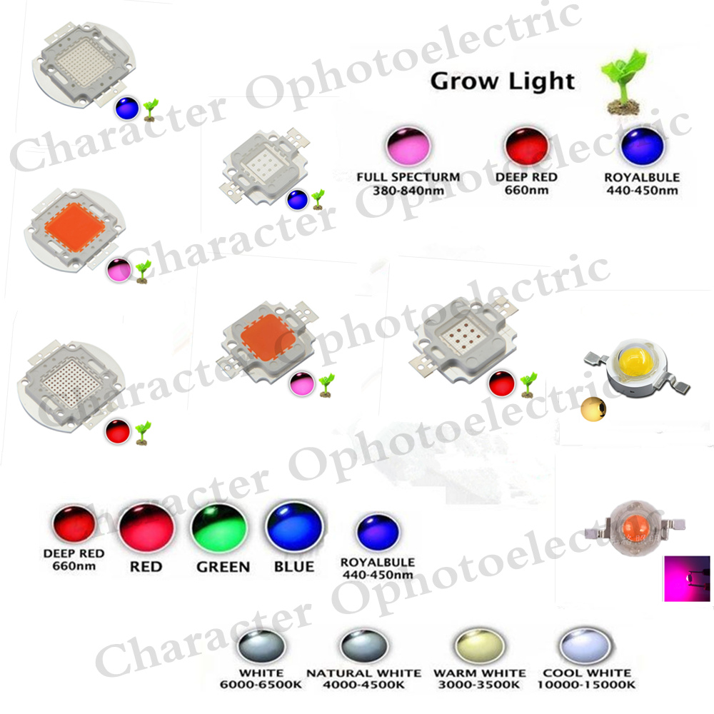High Power LED Chip 1W 3W 5W 10W 20W 30W 50W 100W SMD COB Light Bead Warm Cold White Red Green Blue RGB Full Spectrum Grow Light ikvvt 10pcs led chip 3w rgb high power 350ma red green blue full color diy led cob beads 3 w light lamp 6pin led floodlight