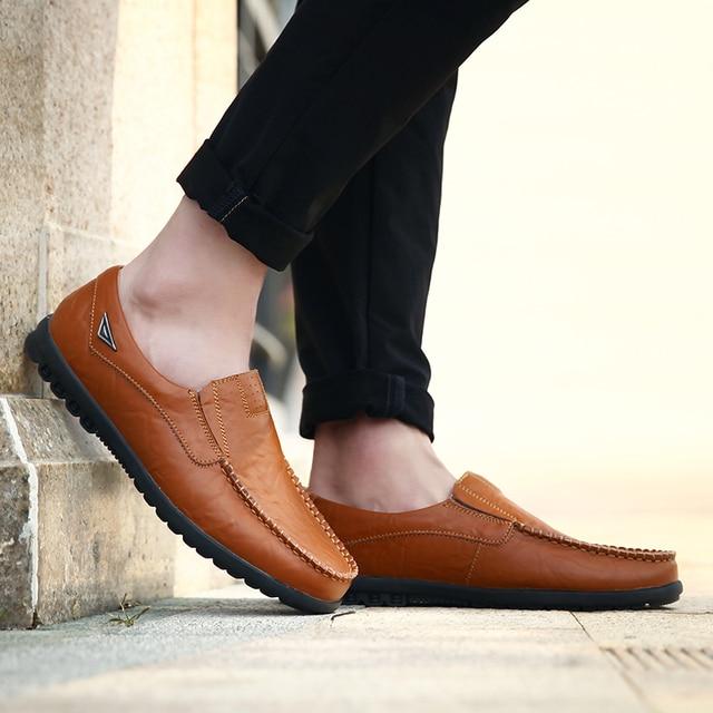 Sapatos casuais masculinos de couro genuíno marca de luxo 2019 mocassins dos homens deslizamento respirável em preto sapatos de condução mais tamanho 37-47 3