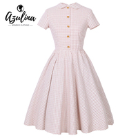 AZULINA Retro Women Pink Plaid Party Dress Short Sleeve Vestido Robe Femme Female Elegant Casual Vintage