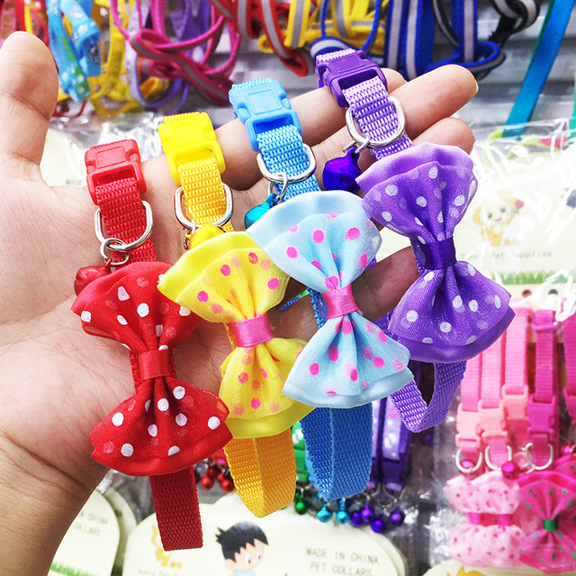 Adjustable Polyester Dog Collars Pet Collars With Bowknot Bells Charm Necklace Collar For Little Dogs Cat Collars Pet Supplies 5