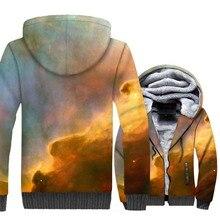 male 3D starry sky print 2018 winter plus velvet thick coat wool liner jacket man casual keep warm hoodies sweatshirt clothing