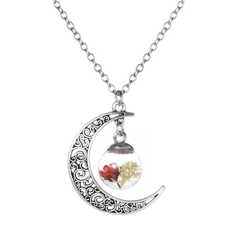 Sale Dried Flower Glass Bottle Moon Necklace Jewelry Fashion Silver Color Chain Crescent Statement Necklace Wholesale