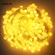 JULELYS 50M 400 Żarówki Ball Girlanda Christmas LED Lights String Outdoor Wedding Wedding Lights LED dekoracji ogrodu