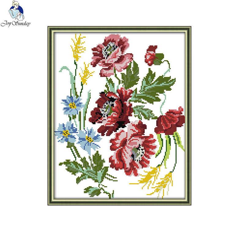שמחה יום ראשון פרחי סדרת בד DMC נספר 11CT 14CT הסיני צלב סטיץ ערכות מודפס רקמה עיצוב הבית לשלוח מתנה