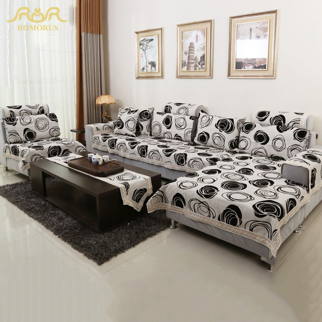 ROMORUS Modern Sofa Covers White And Black Linen Cotton Couch Cover  Slipcovers One Two Three Four