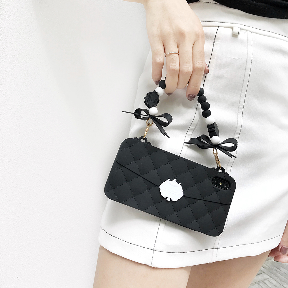Fashion Soft Silicone Women Handbag Case Cover Pearl Grapes Cluster Bowknot Chain For Iphone 11 Pro XS Max XR X 8 7 6 6S Plus