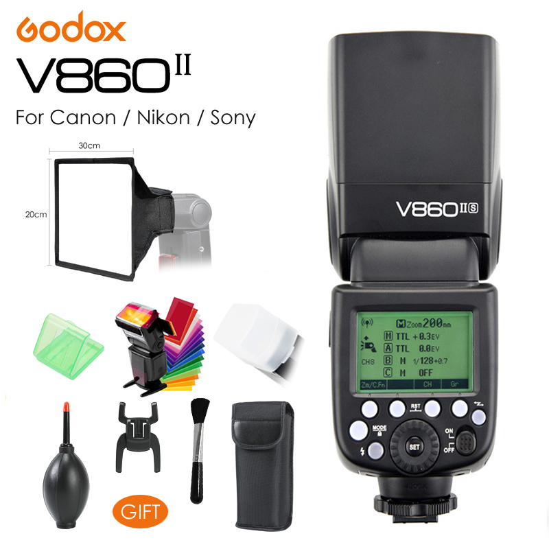 Godox Ving V860II V860IIC / V860IIN / V860IIS TTL HSS 1/8000 w/ Li-ion Battery Speedlite Flash for Canon Nikon Sony DSLR + Gift godox v860iis flash speedlite 2 v860ii s ttl hss 2 4g li ion battery x1t s trigger for sony dslr cameras supon free gift kit
