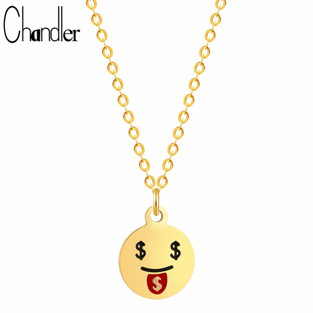 Chandler 2017 Brand New Face Cartoon Emoji Expression Pendant Necklaces Loving Money Dollar Face Mini Round Charm Love Colier