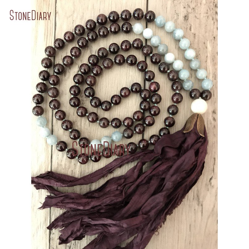 New Fashion Natural Garnet and Aquamarines Mala Necklace <font><b>Sari</b></font> <font><b>Silk</b></font> <font><b>Tassel</b></font> Hand Knotted 108 Mala Beads NM11121 image