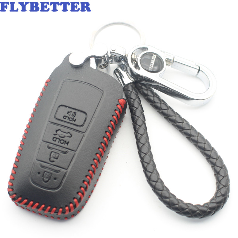 FLYBETTER Genuine Leather 4Button Smart Key Case Cover For Toyota Camry/CHR/ 2017Prius/Corolla/Prado Car Styling (B) L61