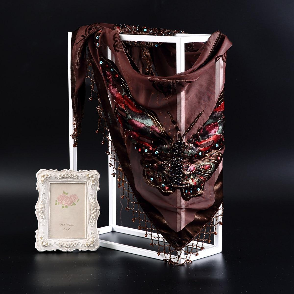 Handmade Beaded Cape Chal Scarves 70*150cm ELEGANT Chinese Female Scarf Wrap Shawls MantillaTriangle Pashmina Tassels Stole