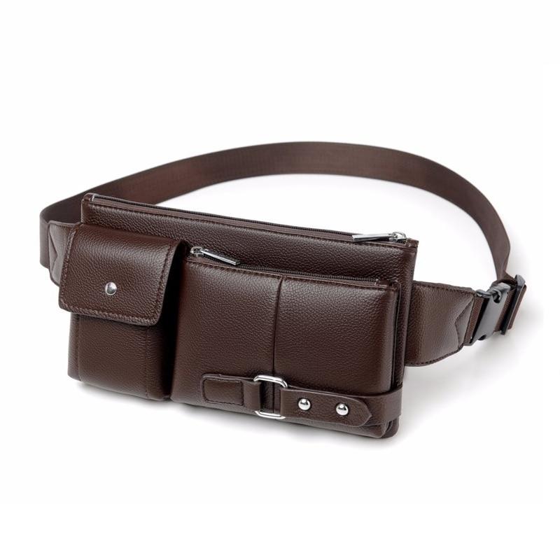Men Waist Pack High Quality Fanny Pack Pu Leahter Waist Bag Men Official Business Waist Belt High Capacity Female Purse Bum Bag