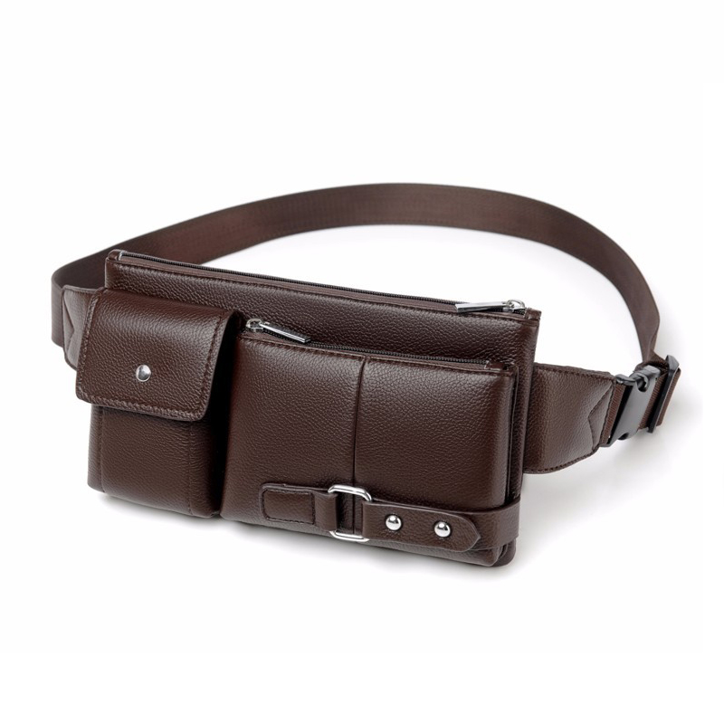 Men Leisure Waist Pack High quality Fanny Pack Pu Leather Waist Bag Men business Belt Bag High capacity bum bag in Waist Packs from Luggage Bags