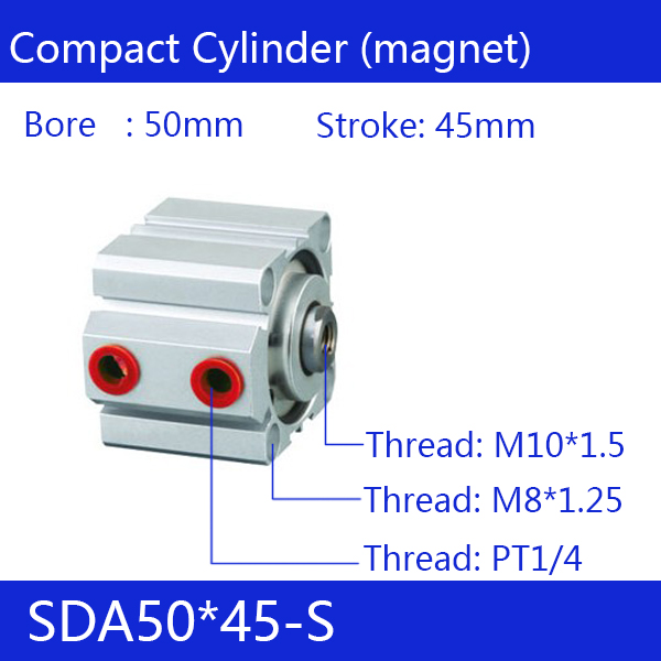 SDA50*45-S Free shipping 50mm Bore 45mm Stroke Compact Air Cylinders SDA50X45-S Dual Action Air Pneumatic Cylinder 45