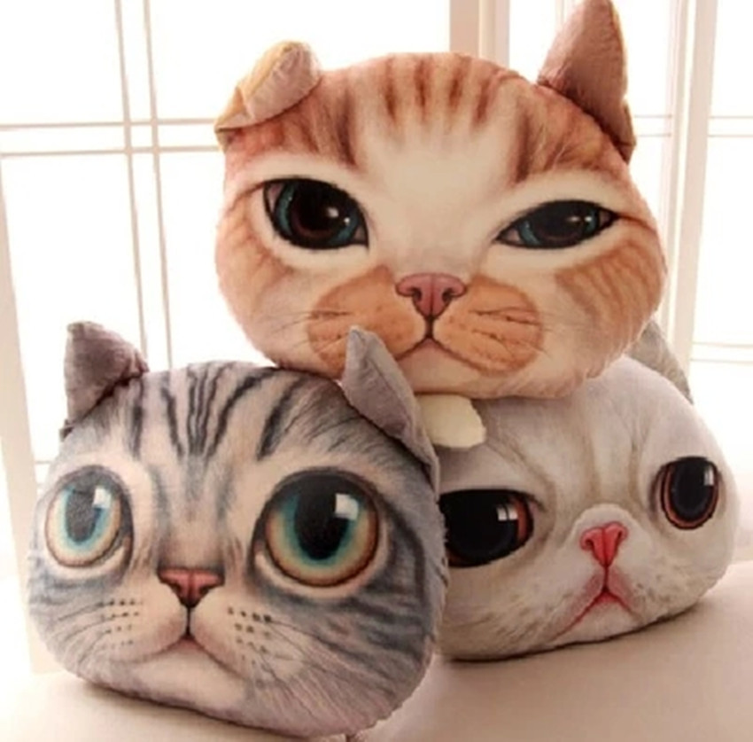 Free shipping cartoon realistic cat head animal doll hold pillow car cushion for leaning on at ...