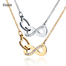 Eleple Simple Love 8 Interlocking Stainless Steel Necklaces Zircon Inlaid Exquisite Female Hollow Trendy Necklace Jewelry S-N129