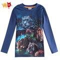 AD 2015 Primavera Meninos Camisetas Tigre Leão 3D de Impressão do Algodão camisa do menino T vestuário Infantil Roupa Das Crianças roupas infantis Assecla menino