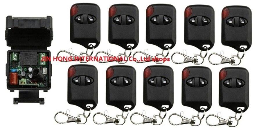 AC220V 1CH Sans Fil Système de Commutateur de Commande À Distance télérupteur 1 pcs Récepteur et 10 pcs Émetteurs pour Appareils Porte Porte de Garage
