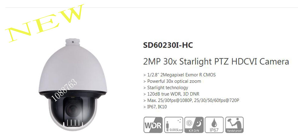 Free Shipping DAHUA CCTV HDCVI PTZ Camera 2MP 30x Starlight PTZ HDCVI Camera IP67 IK10 Without