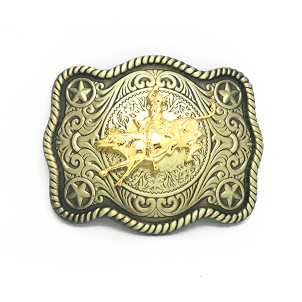 Cowboy Pattern In The Tang Dynasty Wear-resisting Zinc Alloy Belt Buckle Bullfight Knight Unisex Belt Buckle For 4.0 CM Belt