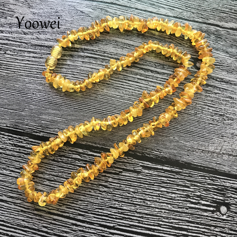 Yoowei Natural Amber Necklace for Women Genuine Beads Baltic Amber Jewelry Gift Multi-layered Bracelet Chips Necklace Wholesale yoowei 4mm natural amber bracelet for women small beads no knots multilayered sweater chain necklace genuine long amber jewelry
