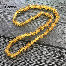 Yoowei Natural Amber Necklace for Women Genuine Beads Baltic Amber Jewelry Gift Multi layered Bracelet Chips Necklace Wholesale