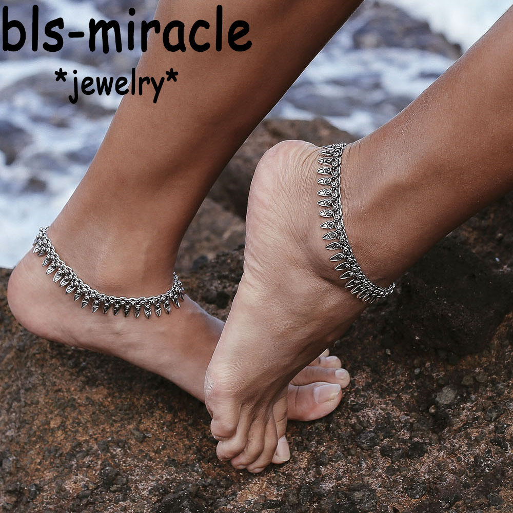 Bohemia Summer Foot Metal Vintage Silver Color Plated Tassel Geometry Anklet Gift For Women Beach Jewelry 2017 New A-50
