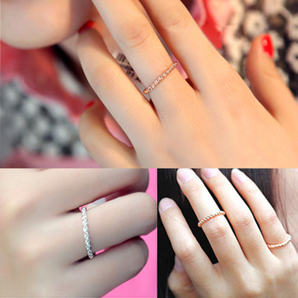 2015 fashion Jewelry twisted Hemp flowers woven rings simple rose