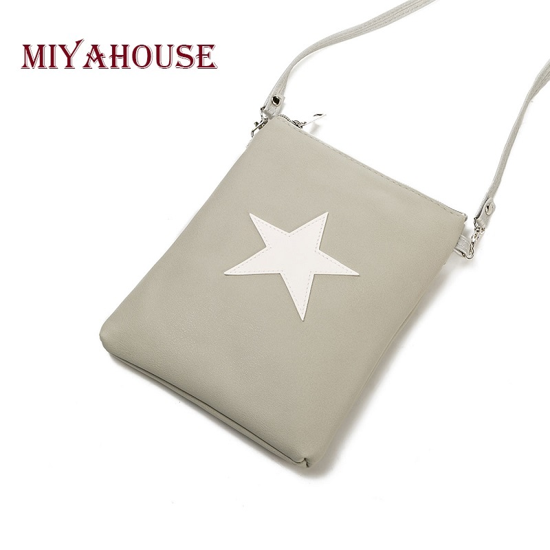 Miyahouse Casual Star Design Mini Shoulder Bag Phone Bag Female Double Zipper Soft Leather Women Crossbody Messenger Bag 1