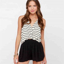 YYFS 2019 New Sexy Women Crop Tops Striped Tie Back Cami Casual Backless Double Deep V-Neck Summer Top Female Cropped Vest Camis striped crop cami top