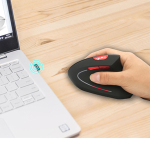 Image 5 - HXSJ new vertical wireless mouse 2.4G ergonomic wireless mouse 2400DPI adjustable for PC notebook USB2.0 black gray