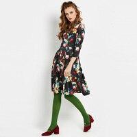 Sisjuly Women S Vintage Dresses 2017 Spring Autumn V Neck Three Quarter A Line Dress Women