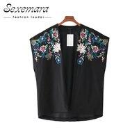 Summer Tops Embroidery Blouse Open Casual Kimono Blusas 2017 Sweet Sleeveless Women Fashion Ladies Short Shirt