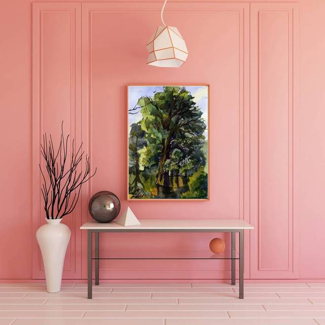 Landscape Tree Gouache Painting Canvas Print One Piece Wall Art for ...