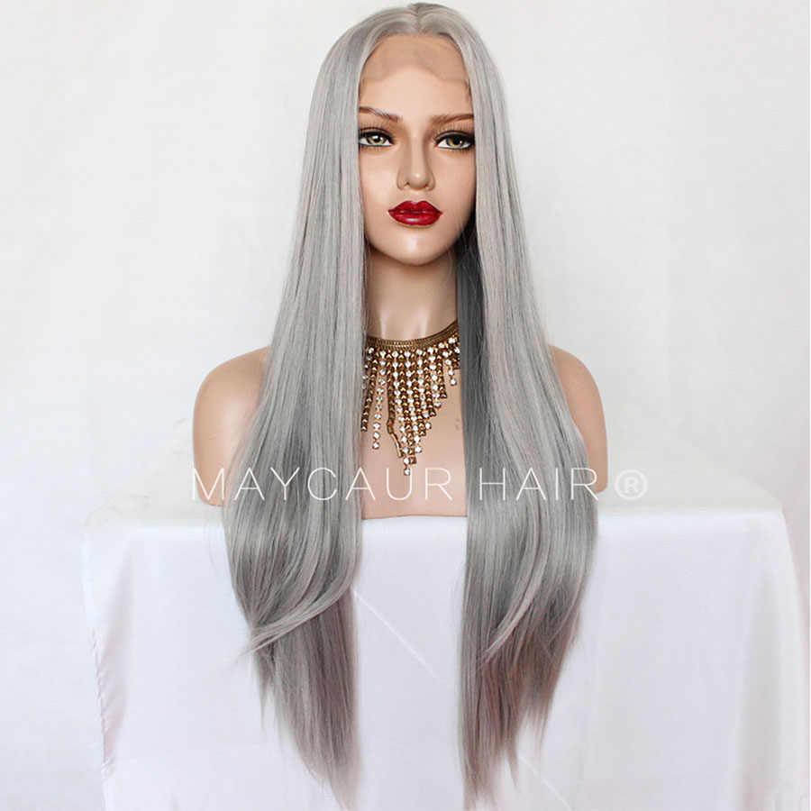 Maycaur Черные Серые половина ручной работы бесклеевые синтетические парики на кружеве длинные Натуральные Прямые Серебристые серые парики для волос для женщин