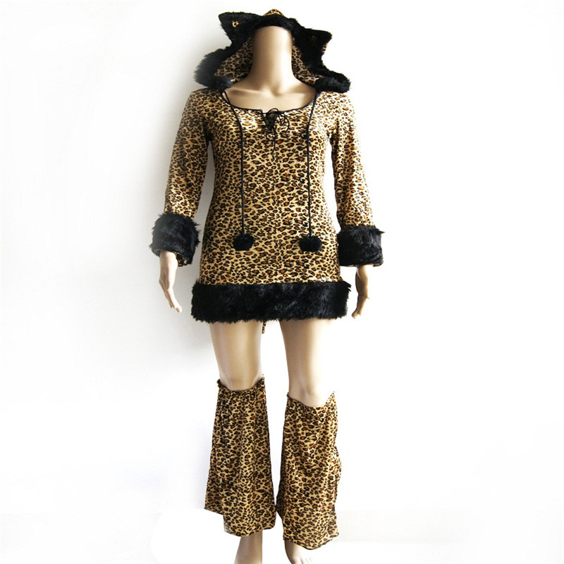 Halloween Costume For Women Animal Cat Cosplay Sexy Leopard Long Sleeves Hoodied Dress Performance Party Clubnight