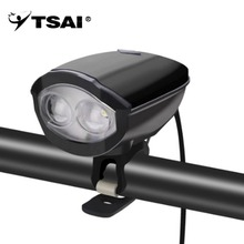 TSAI USB Rechargeable Cycling Horn Electronic Bicycle Handlebar Bell with LED Light 120db 5 Sound Effects Waterproof Bike Safety