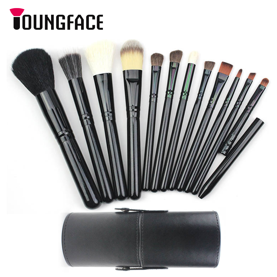 Goat Hair Makeup Brushes Set High Quality Foundation Powder Blending Eyeshadow 12pcs Make Up Brush Kit Professional Cosmetic Set msq 15pcs professional makeup brushes set foundation fiber goat hair make up brush kit with pu leather case makeup beauty tool