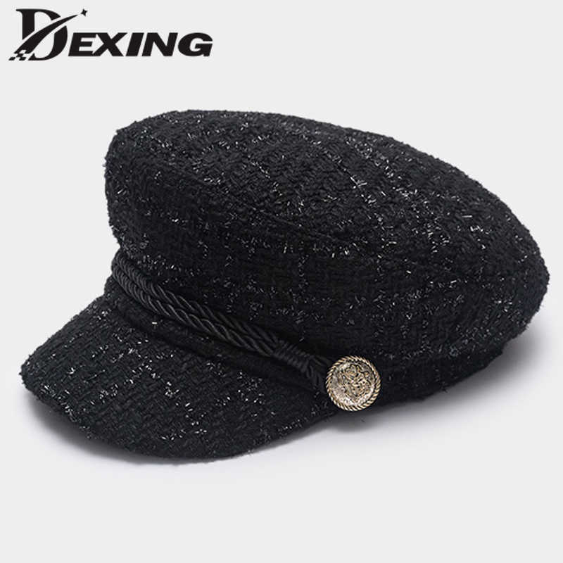 a5f3994e21387 Detail Feedback Questions about 2018 Fashion Gold Thread Tweed Baseball Cap  Military hat Women spring ladies cool sailor Hat Vintage student cap Beret  on ...
