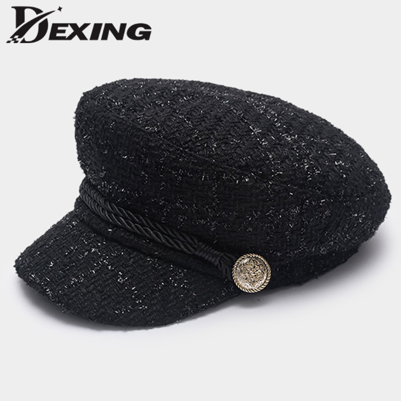 2018 Fashion Gold Thread Tweed   Baseball     Cap   Military hat Women spring ladies cool sailor Hat Vintage student   cap   Beret