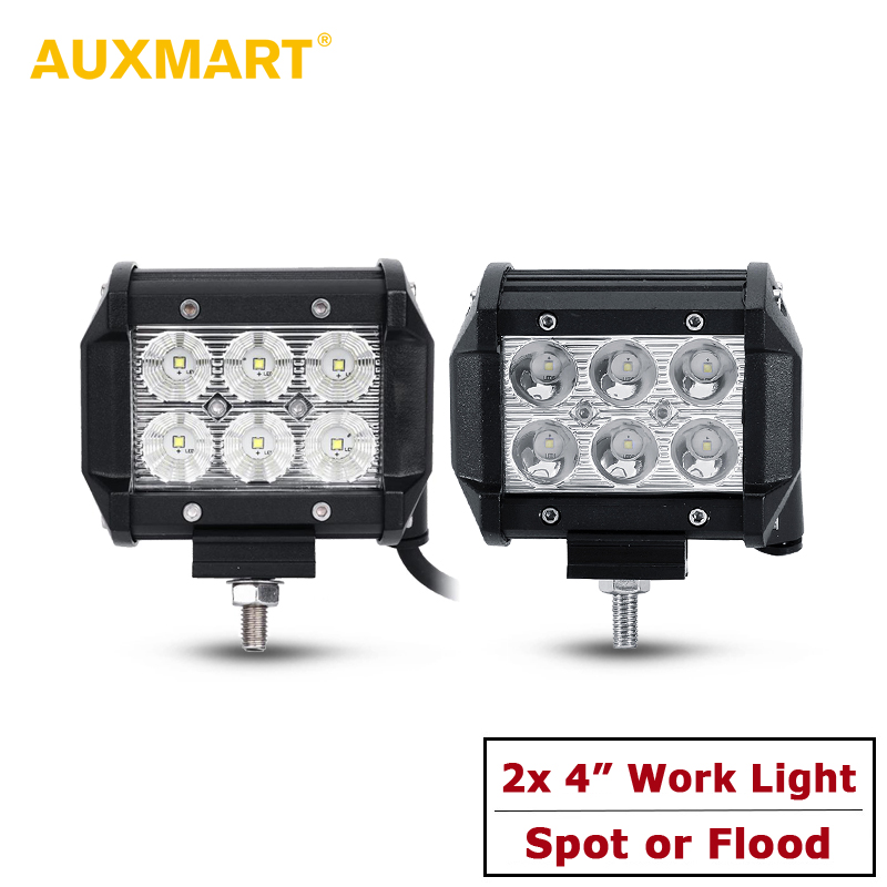 Auxmart 2pcs/Lot 4 18W Spot/Flood Reflective Cup LED Work Light Offroad Tractor Truck 4x4 SUV ATV Motorcycle Headlight 12V 24V auxmart spot beam flood beam 4inch 7 led work light offroad tractor truck 4x4 suv atv motorcycle headlight fog lamps 12v 24v